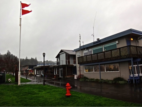 gale warning flags at the port