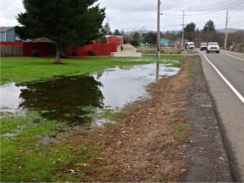 water along the roadway; we heard it was much higher along Sandridge yesterday.