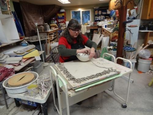 Karen in her studio