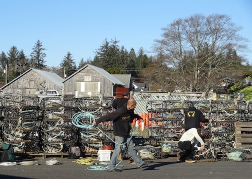 In the parking lot, crabbers prepping for the season (which has been delayed till Dec. 15th)