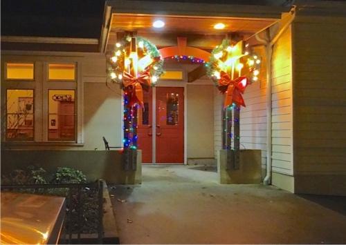 Ilwaco Timberland Library lights after dark