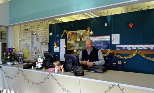 Allan's trip to the Post Office: postmaster and decorations
