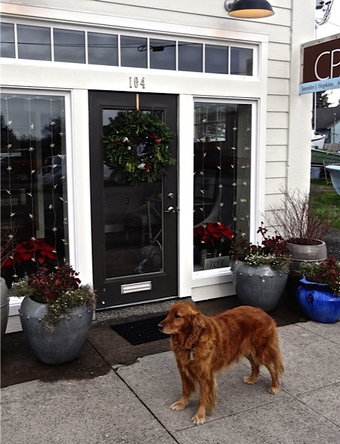 On the way to the post office and bank, Allan noticed our accountant's office all pretty for the holidays, along with CPA mascot Helen.