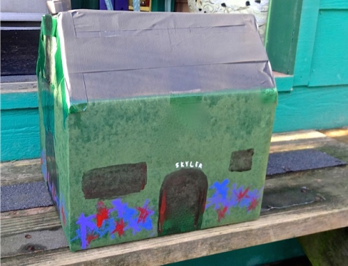 Allan was inspired by painted cardboard packages that his dad used to make.