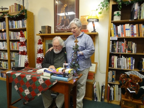 Bookstore owner Karla introduced the author.