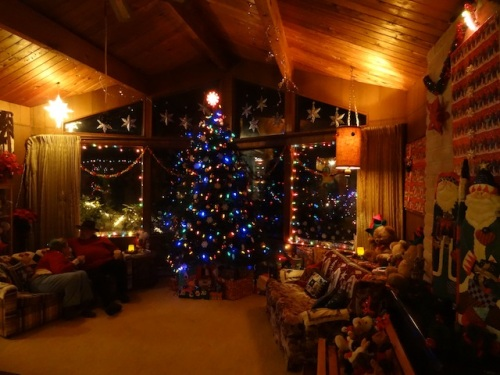Jan bought her house especially because of this great room for a tall Christmas tree.