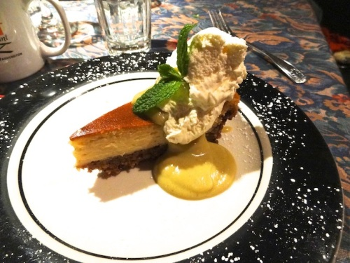 in closing, eggnog cheesecake with a delicate sauce