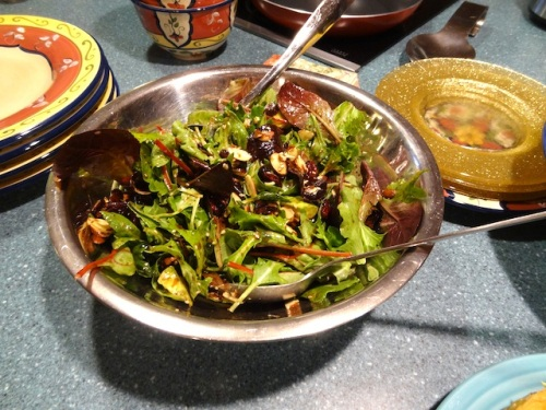 and a salad with a balsamic dressing....