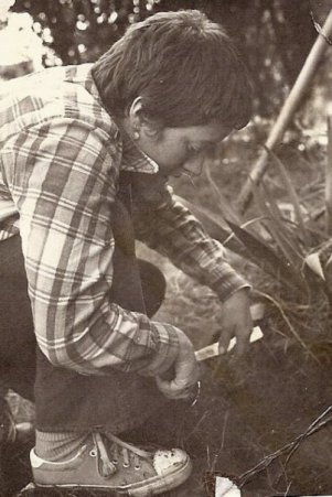 """1976: I wrote just one line describing this friend """"planting daffodils in the garden at Rainbow House""""."""