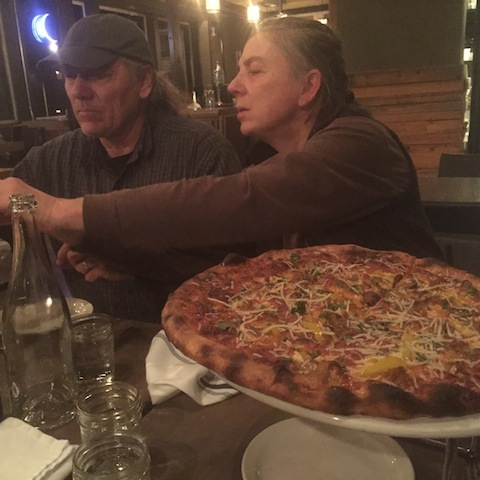 Melissa and Dave and pizza