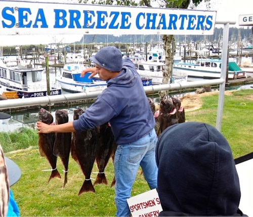 A Sea Breeze Charters had just unloaded its fish and its happy customers.