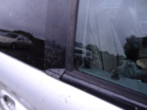 Our nice clean van was marked with dirt from everywhere I touched it on this planting day.