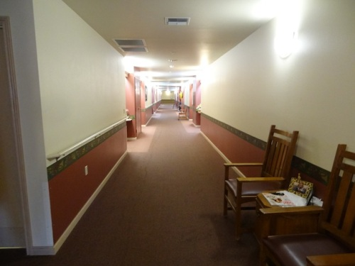 the long hallway to the courtyard