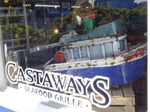 cute boat in the Castaways window