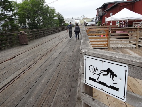 My friend Carol, a bicyclist, liked this sign when she and I walked the Riverwalk.