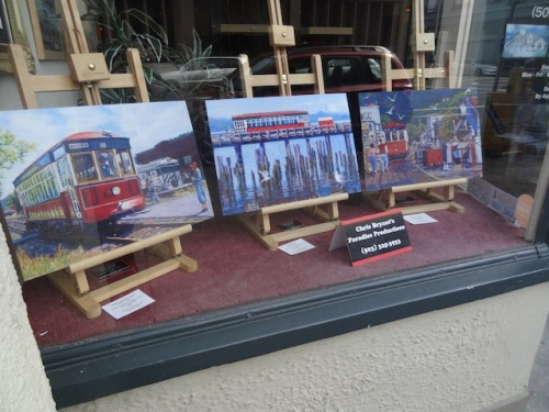 trolley art in a window