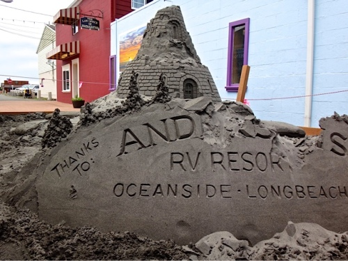 Fish Alley sand castle (Allan's photo). The sponsor was the RV park where we used to garden (til our good friend and RV Park owner Lorna retired).