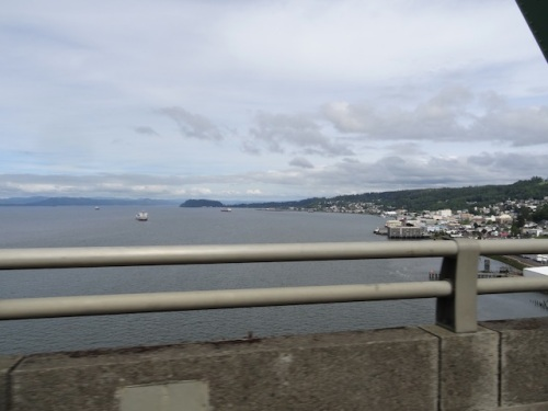 eastern view from the highest part of the 4 mile long Astoria Megler bridge over the Columbia river.