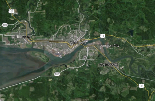 Cosmopolis and Aberdeen are divided by the Chehalis River, not far from the Pacific Ocean.