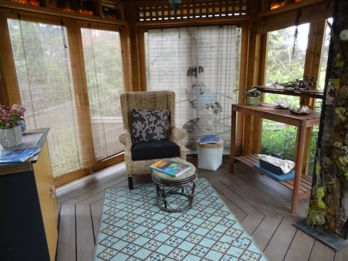 inside the garden room, a reading space for one