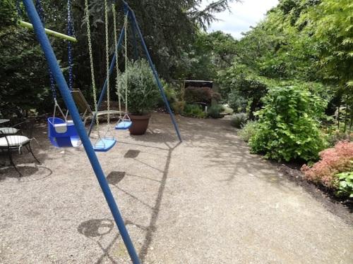 and a swingset outside