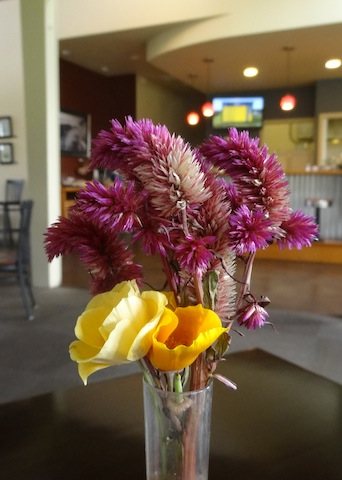 celosia bouquet on our table