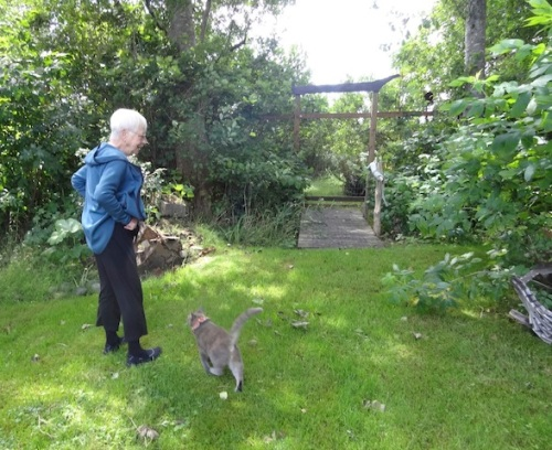 Patti and Smokey at the south end of the garden
