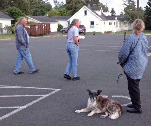 in the parking lot with Sondra's sweet dog, Lacey.
