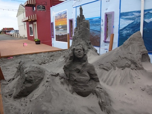 in Fish Alley: The remnants of the weekend's sand sculpture (Allan's photo)