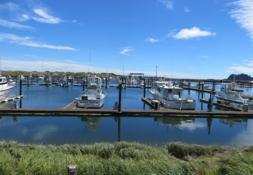 still blue water at the marina