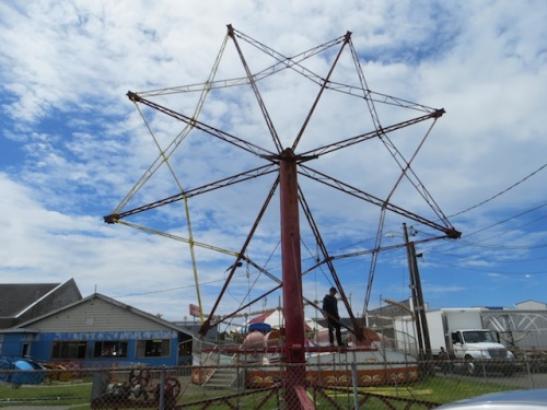 The ferris wheel that has been defunct for years is getting repairs!
