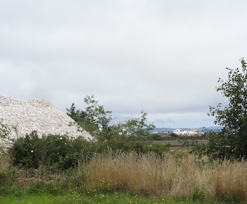 outside, a mountain of oyster shells and a view to the Port of Nahcotta