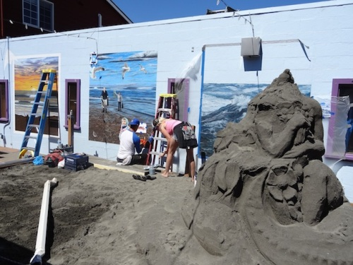 painting and last weekend's sand art in Fish Alley