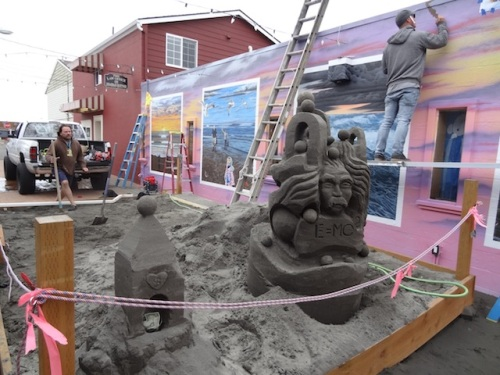 Painting and sandcastles continue in Fish Alley.