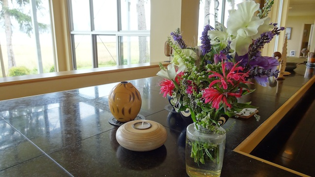 in Steve and John's kitchen, a bouquet from Prissy