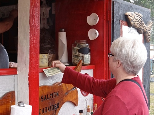 Our Kathleen was there, buying some smoked salmon chowder.