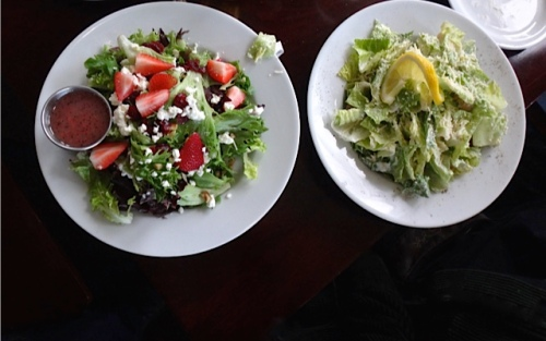 strawberry and caesar salads (Allan's photo)