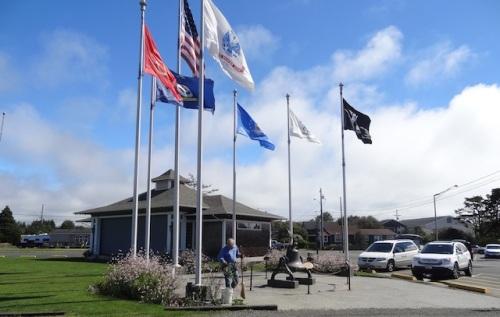 Veterans Field flag pavilion garden