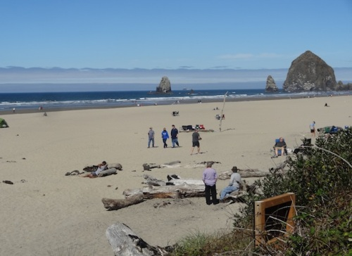 Haystack Rock in view at Tolovana Wayside