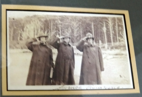 His mother is to the left of the 3 women posing in borrowed WW1 uniforms.