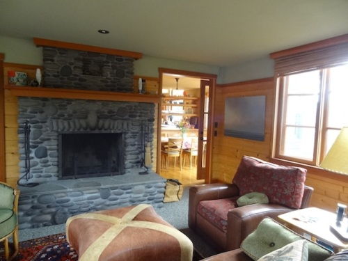 a classic Cannon Beach stone fireplace