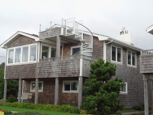 on the east side of the street, a view deck