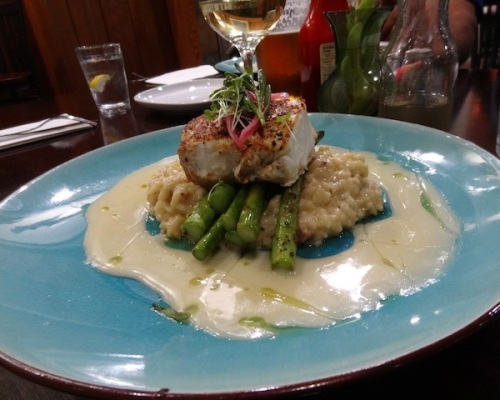 Melissa's cod and risotto with lemon sauce