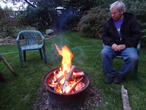 a windless campfire evening
