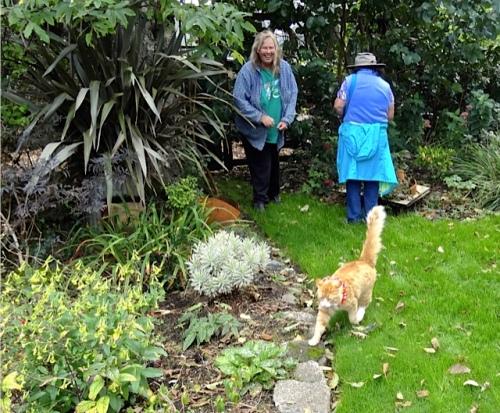 Skooter, Debbie and me in the garden