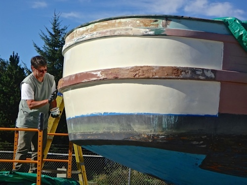 She's been working on her boat, the Ocean Accord, most days. (Allan's photo)