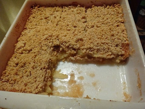 Thanks to Allan, telly time included fresh apple crumble.
