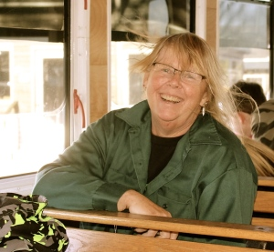 Jenna's photo of me on the trolley