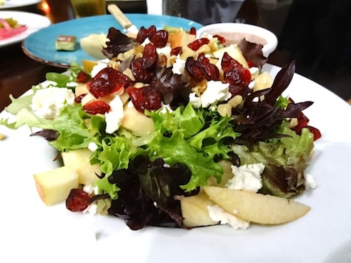 an autumnal salad with cranberries