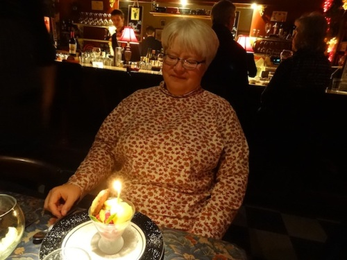 birthday candle in sorbet for Kathleen; she remembered to make a wish.
